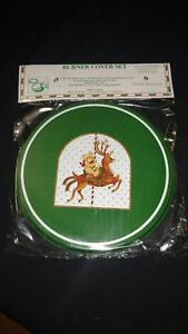 Reston Lloyd Stove Burner Cover Matte Green Christmas Reindeer Bear Set 4 NIP