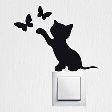 Katze und Schmetterlinge Wandaufkleber Wandtattoo Kinderzimmer Wall Art