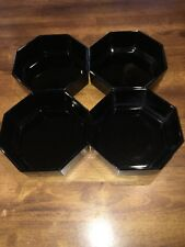 Arcoroc France Geometric Octime Octagon 4 Black Soup or Cereal Bowls 8 Sided EC