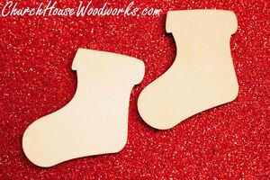 25 qty 2 inch Stocking Wood Christmas Embellishments Crafts Ornaments Decor DIY