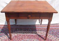 19TH C SHERATON PERIOD OHIO RIVER VALLEY ANTIQUE PRIMITIVE PINE TAVERN TABLE