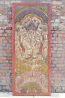 Vintage Ganesha Carved Barn Doors Hand-Carved Traditional Wall Sculpture 84x36