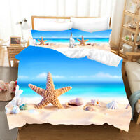Sea Waves Beach Starfish Conch Bridge Bedding Duvet Quilt Cover Set+Pillow Case