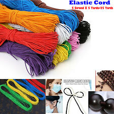 Elastic Cord String for Bracelets, Necklace, Beading 25Yards (5x5yd) 1mm Round