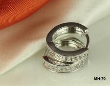 Huggy Hoop Pave Cz Earrings ~ Mh70~ 925 Sterling Silver Cz Round Huggie Hinged