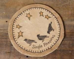 """Stenciled Simple Pleasures Crows and Stars Natural Burlap Table Mat approx. 9"""""""