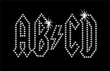 ABCD - ACDC themed iron on rhinestone transfer bling