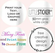 Personalised favour stickers Large round 50mm white wedding labels  50 - 200
