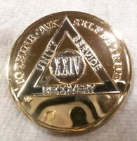 24 YEAR AA GOLD/SILVER Tone Bi-Plated Alcoholics Anonymous CHIP COIN MEDALLION