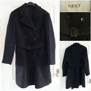 NEXT Black Wool Blend Coat Size 8 Buttons Warm Autumn Winter Lined Smart Belt