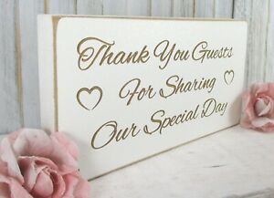 Thank You Guests Wedding Sign Free Standing Vintage Shabby & Chic White