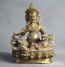 collect Tibet buddhism brass wealth god Yellow Jambhala Buddha wealth god statue