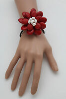 Women Bracelet Red Beads Flower Charm White Elastic Cuff Band Fashion Jewelry
