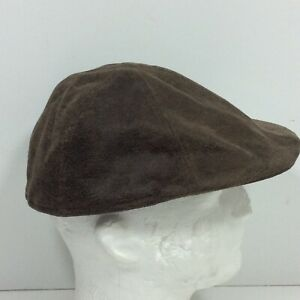 Henschel Hat Co Brown Leather Flat Cap Men's Size L Newsboy Cabbie Driving Hat