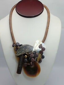 """Artisan Earth Tone Mixed Dangle Leather Corded Gemstone Abalone 18"""" Necklace"""
