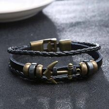 COOL New Retro Men's Metal Anchor Steel Handmade Leather Bangle Cuff Bracelet