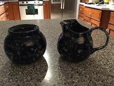 Bennington Pottery Cobalt Blue Agate Sugar and Creamer