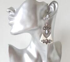Gorgeous 7.5cm long boho style silver tone - cream & grey diamante earrings