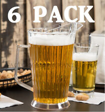 New 6 Pack Polycarbonate 60 Oz Plastic Clear Beer Bar Serving Pitcher Restaurant