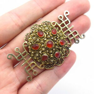 Antique China 925 Sterling Silver Carnelian Filigree Domed Pin Brooch / MISSING