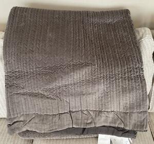 Pottery Barn Gray Velvet Channel Quilt Full/Queen NWOT