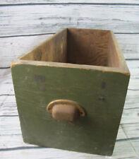 Antique Long Wood Primitive Open Box Filing Drawer Metal Handle