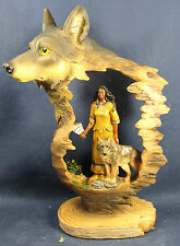 Woman with Wolf South Western Figurine Decor