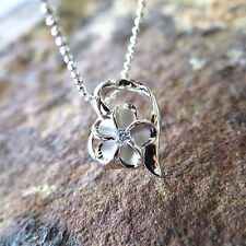 Heart Plumeria Flower Hawaiian Jewelry Genuine Silver Pendant Necklace #SP86928