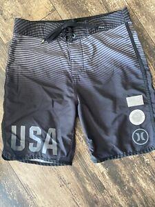 Hurley Olympic Shorts USA TEAM Mens Surf Swim Trunks Size 28