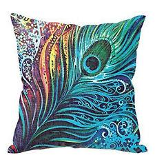Peacock Feather Print Throw Accent Pillow Insert & Case Hippie Boho Bohemian