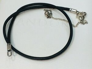 Authentic PANDORA Black leather choker necklace 397197 38cm