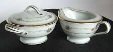 NORITAKE CHINA JOANNE JAPAN 6466 Gold Floral Sugar Bowl & Creamer MINT CONDITION