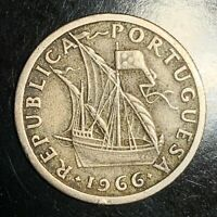 1966 Portugal 2-1/2 2$50 Escudos Key Date Coin KM# 590 - 15th Century Caravel