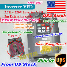 【US Stock】 2.2KW 220V 3HP VFD Inverter Variable Frequency Drive 10A VSD HY Brand