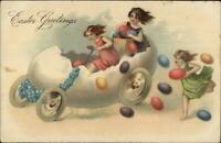Easter Fantasy Girls Speeding in Egg Shell Car c1910 Postcard