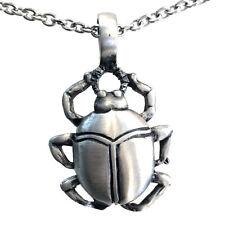 Egyptian Scarab Beetle god Scarabaeus sacer PEWTER PENDANT Stainless Steel Chain