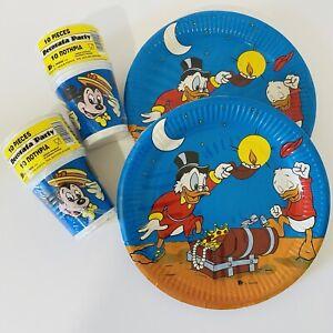 Vintage 1980s Disney Kids Party Plates Cups Mickey Mouse Donald Ducks Blue Retro