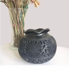Hand Sculpture Decorative Bulb Vase With Intricate Patterns Made With Black Clay