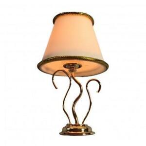 Dolls House Gold Swirl Table Lamp White Shade Fancy 12V Electric Lighting