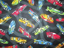 RACE CAR RACING CARS NASCAR TRACKS GRAND PRIX BLK COTTON FABRIC FQ