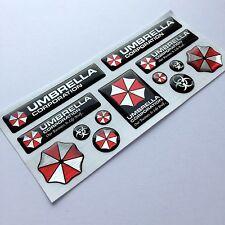 Umbrella Corporation Resident Evil 3d domed emblem decal stickers Pol.Alum 13pcs