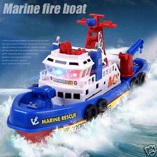 Music Light Electric Marine Rescue Fire Fighting Boat Ship Model Kids Toy Gift
