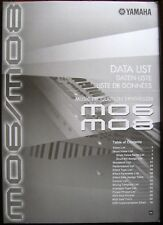 Yamaha MO6 MO8 Motif Synthesizer Original Data List Manual # 2, LN, 80 Pages