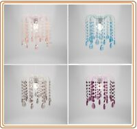 EASY FIT ACRYLIC CRYSTAL DROPLET CEILING PENDANT LIGHT SHADE IN 4 COLOURS
