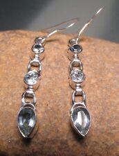 925 sterling silver CUT BLUE TOPAZ GEMSTONE earrings. Gift Bag.