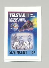 St Vincent #1163 Telestar II, Space, Astronaut 1v Imperf Proof on Card
