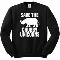 Save the Chubby Unicorns Funny Rhino | Mens Humor Crewneck Graphic Sweatshirt