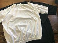TWO St. Croix Knits Black T shirt White Mock Sweater Cotton Microfiber medium