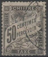 "FRANCE STAMP TIMBRE TAXE N° 20 "" TYPE DUVAL 50c NOIR "" OBLITERE A VOIR  ! !"