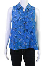 Equipment Femme Womens Star Print Button Down Blouse Blue Size Extra Small